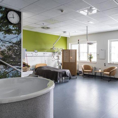 Birth suite in Viborg Hospital, Denmark.