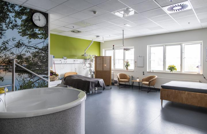 Birth suite in Viborg Hospital, Denmark.