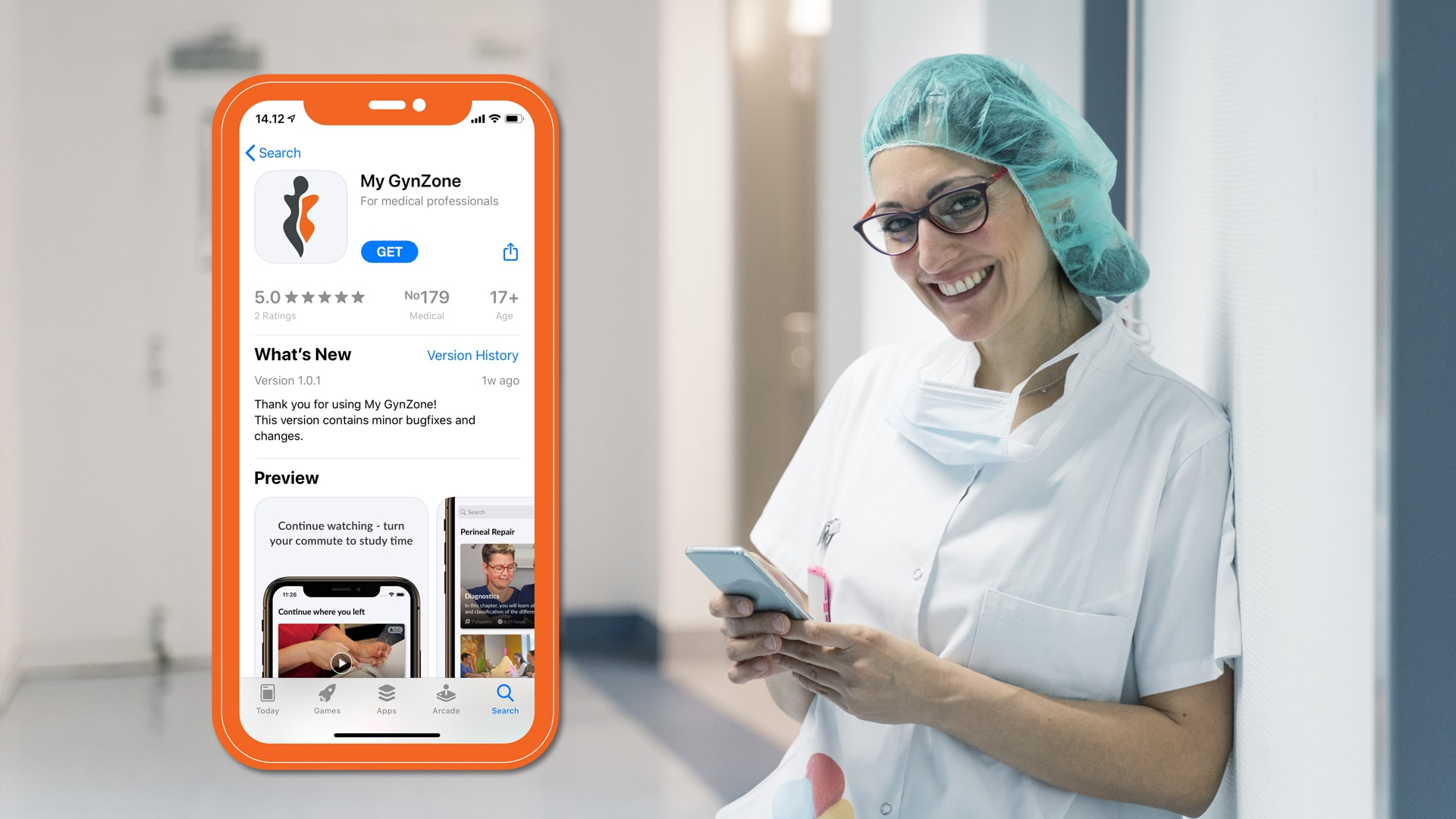 clinician with learning app
