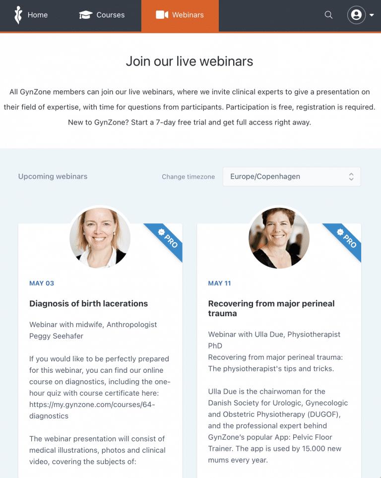 webinar signup page